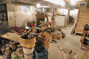 Unfinished basement as dumping ground
